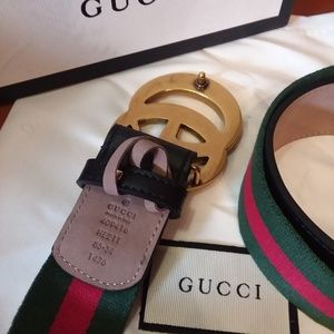 CANVAS GUCCI BELT GG GOLD BRASS & LEATHER